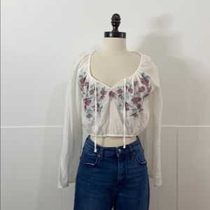 Urban Outfitters Cropped Floral Embroidered Top